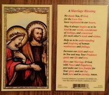 Marriage Blessing Laminated Holy Prayer Card Catholic Mary Joseph Wedding Love