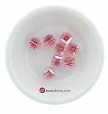 Swarovski Crystal 5601 8mm Cube Beads - LIGHT ROSE AB (6 PCS)