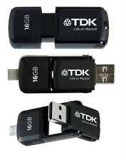 2 TDK 16GB MICRO USB OTG ANDROID TABLET MOBILE MEMORY STICK PEN FLASH DRIVE CARD