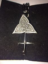 "CELTIC TRIANGLE DR55 Scarf , Brooch and Kilt Pin Pewter 3""  7.5 cm"