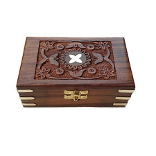 Beautiful Hand Carving Brass Engraved Rectangular Wooden Storage Box