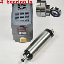 1.5KW WATER COOLED SPINDLE MOTOR ER16 80MM FOUR BEARING & DRIVE INVERTER VFD CNC