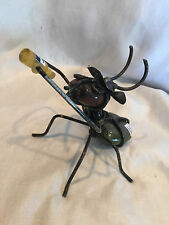 Folk art, Hand Made Paper Weight Desk Decor Steel Wire Ant Drinking A Beer