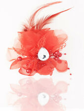 New 1pcs Headdress Flower Feather Rhinestone Hair Pin Brooch Clip red