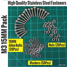 Metric M3 15MM Stainless Steel Allen Bolts (20)+Washers(50)+Nuts(20)