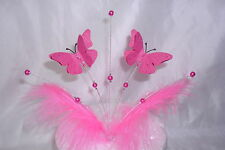 Handmade Shocking pink 3d butterflies cake topper with pink beads/feather
