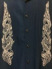 ODO Blue White Dragon Embroidery Club/Camp/Lounge Shirt Short Sleeve Poly Mens L