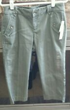 DKNY JEANS GRAY STRIPED CAPRI PANTS SIZE 10!!!  NEW WITH TAGS!!!