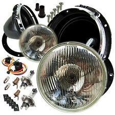 "Classic Triumph Domed 7"" Halogen Conversion Headlight Kit & Mounting Bowls"