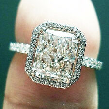 2.10 Ct. Natural Radiant Cut Halo Pave Diamond Engagement Ring - GIA Certified