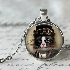 1pcs Vintage Cat Cabochon Tibetan silver Glass Chain Pendant Necklace b1