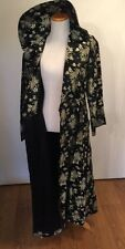 Vtg 1950's Blk & Silver Satin Brocade Coat Robe Dress Chinese Import Asian Sz M