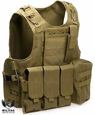 Tan Tactical Vest Airsoft /Paintball Molle Combat Assault Vest + Pouches