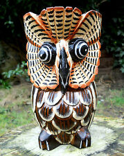 Handmade Carved Wooden Lovely Owl Coloured Figure 22 cm  Home Decor