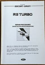 FORD ESCORT RS TURBO REPAIR MANUAL BROCHURE RS 1986 RS