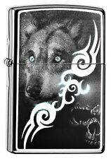 ZIPPO Feuerzeug WOLF AND SKULL High Polished Chrome Wolf Totenkopf NEU OVP