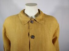 CP Shades 100% Linen Button Down Long Shirt Tunic Mustard Size Small
