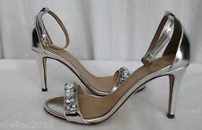 J CREW COLLECTION JEWELED MIRROR METALLIC HIGH HEEL SANDALS METALLIC SILVER 5