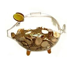 Gold Ear Clear Glass Chubby Pig Piggy Bank Saving Money Coin Box Birthday Gift