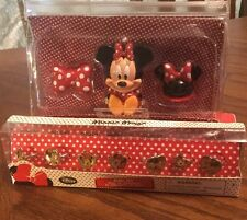 Disney Minnie Mouse Lip Gloss With Case~ Three Piece! & Seven Piece Ring Set!