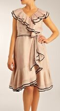 COAST VERONA TIPPED FRILL NUDE BLUSH SILK MIX 50'S WRAP DRESS SASH 14 TWICE £160