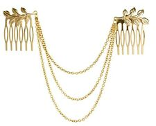 New Hair Accessories Gold Chain With Leaf Tassels Headbands Hair Comb Jewelry AK