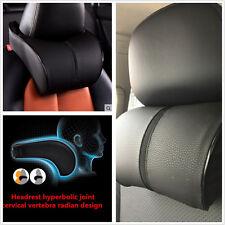 Ergonomic Headrest Black Leather Auto Car Neck Rest Cushion Pillow Memory Cotton
