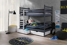 WOODEN BUNK BED WITH MATTRESSES & STORAGE.CAN BE SPLIT INTO 2 SINGLES