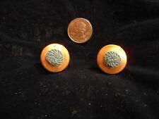 Fashion Jewelry - Aqua w/ Brass Colored Button Style Earrings - Vintage