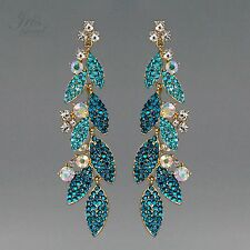 18K Gold Plated GP Aqua Blue Crystal Rhinestone Drop Dangle Earrings 01612 Prom
