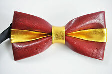 New Mens PVC Faux Leather Gold Dark Red Shining Bow Tie Bowties Wedding Party