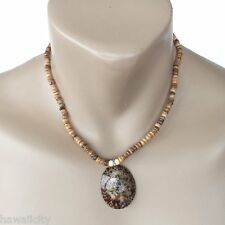 Hawaiian Jewelry Opihi Shell Coconut Bead Necklace Pendant - FREE SHIPPING