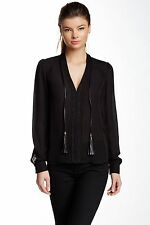 NWT $240 Madison Marcus 100% Silk Black Long Sleeve Blouse Sheer Beaded Tassel S