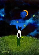 Rat Terrier Dog Jack Russell Parson Fox Folk Art Print Todd Young Starry Sky