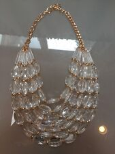 NWOT Clear Oval Multi Strand Beaded Statement Necklace Anthropologie