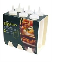 6 x Plastic Squeeze Sauce Mustard Ketchup Bottles Barbecue Dispenser Clear 8oz