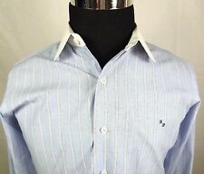 Mevana Mens Shirt Size Medium Custom Blue White French Cuffs & White Collar