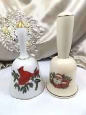 Pair (2) Christmas Bells Cardinal on Holly Branch &  Santa Porcelain Collectible