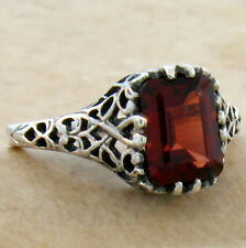 2 CT GENUINE GARNET 925 STERLING SILVER ANTIQUE STYLE RING SIZE 7.75,       #701