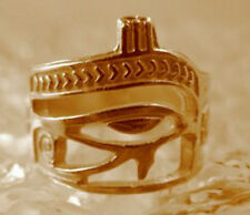 Gold Plated over real Sterling silver Eye of Horus Ring egypt Scarab beetle Ankh