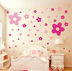 86 PINK Princess Flowers Girls Room/Nursery Vinyl Wall Stickers