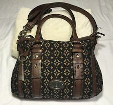 Fossil Maddox Black Brown Signature Cross Body Satchel Purse Shoulder Bag