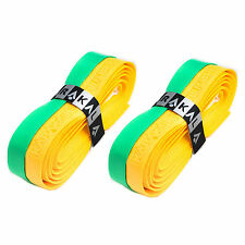 2 x Karakal Super DUO PU Replacement Grips Yellow/Green Tennis Squash Badminton