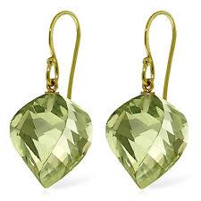 26 Carat 14K Solid Gold Ella Green Amethyst Earrings