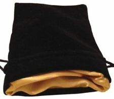 "Luxury Velvet Dice Bags with Satin Lining: 4""x6"" Black Velvet Dice Bag with Gold"