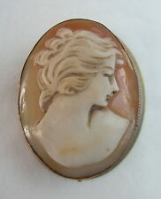 ELEGANT SIMPLE VINTAGE GOLD ON SOLID SILVER SHELL CAMEO BROOCH PIN & PENDANT VGC