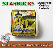 Starbucks Coffee Rare Discontinued Stickers Labels Roll Sulawesi Monkey
