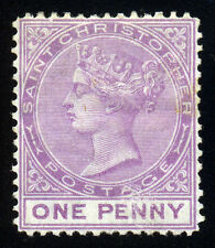 St. Christopher. 1875. 1d. Lilac Rose. SC# 4. SG# 6. Wmk CC. Perf 14. MLH