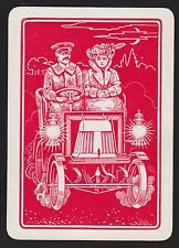 1 SINGLE VINTAGE PLAYING SWAP CARD OLD WIDE SUNDAY DRIVE PEOPLE AUTOMOBILE RED
