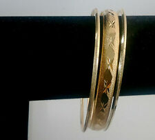 3Pc INDIAN BOLLYWOD DESIGN SUIT JEWELRY G-PLATED BRACELET BANGLE  LARGE 2.16 #24